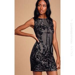 Lulu's Black Sequin Bodycon Mini Holiday Dress NYE